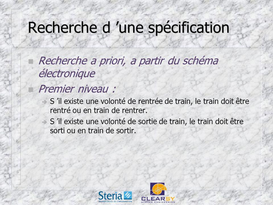 Recherche d une spécification n Recherche a priori, a partir du schéma électronique n Premier niveau : S il existe une volonté de rentrée de train, le train doit être rentré ou en train de rentrer.