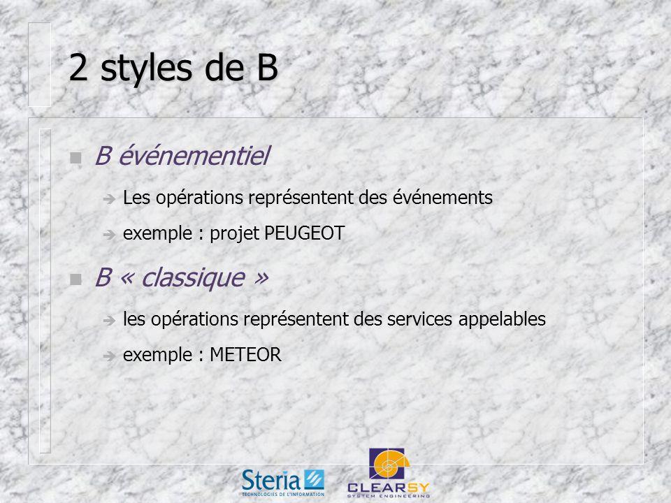 2 styles de B n B événementiel Les opérations représentent des événements exemple : projet PEUGEOT n B « classique » les opérations représentent des services appelables exemple : METEOR