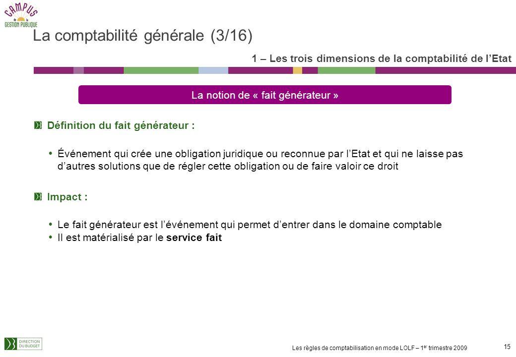 14 Les règles de comptabilisation en mode LOLF – 1 er trimestre 2009 La comptabilité générale (suite) 1 – Les trois dimensions de la comptabilité de l