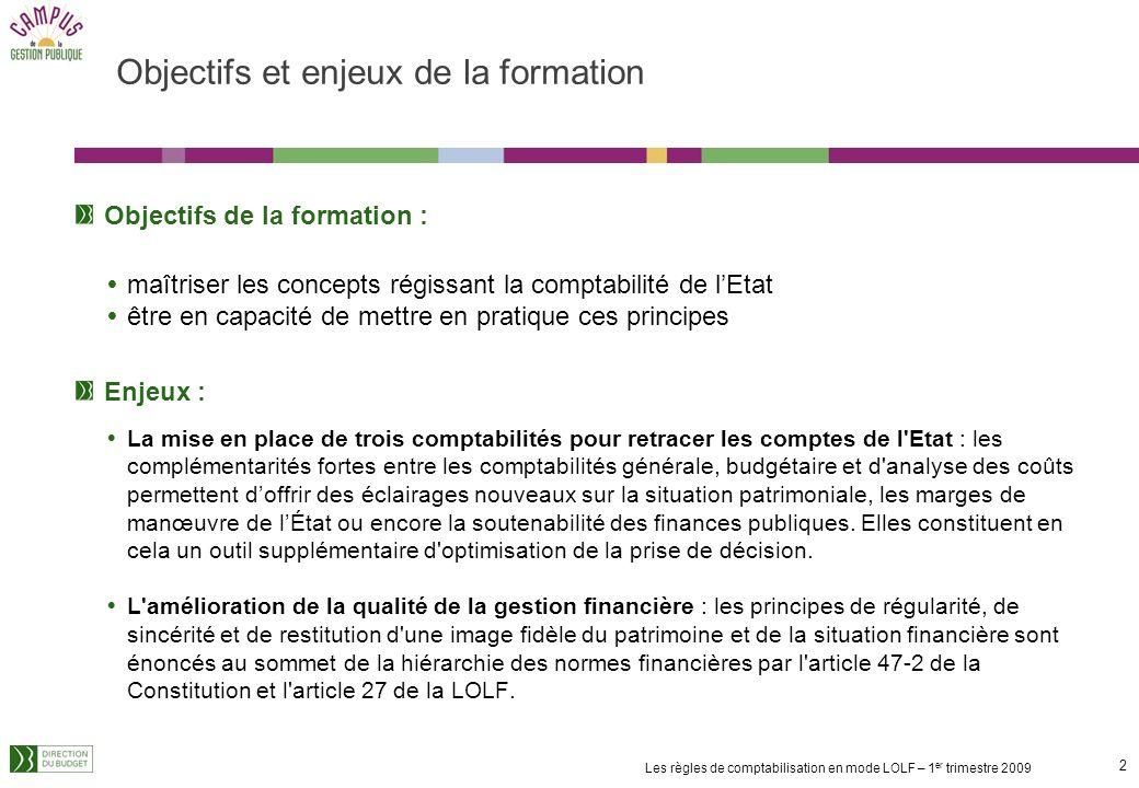 1 Les règles de comptabilisation en mode LOLF – 1 er trimestre 2009 Contributeurs à lélaboration du support Direction du budget : Brigitte SABLAYROLLE