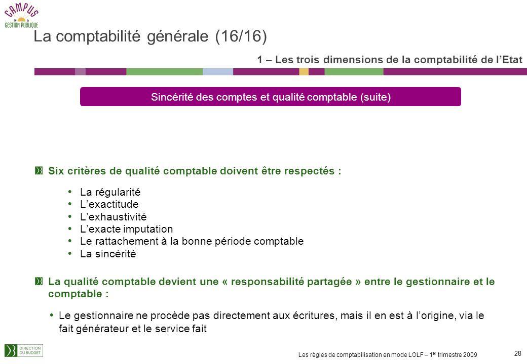 27 Les règles de comptabilisation en mode LOLF – 1 er trimestre 2009 La comptabilité générale doit restituer une image fidèle du patrimoine et de la s