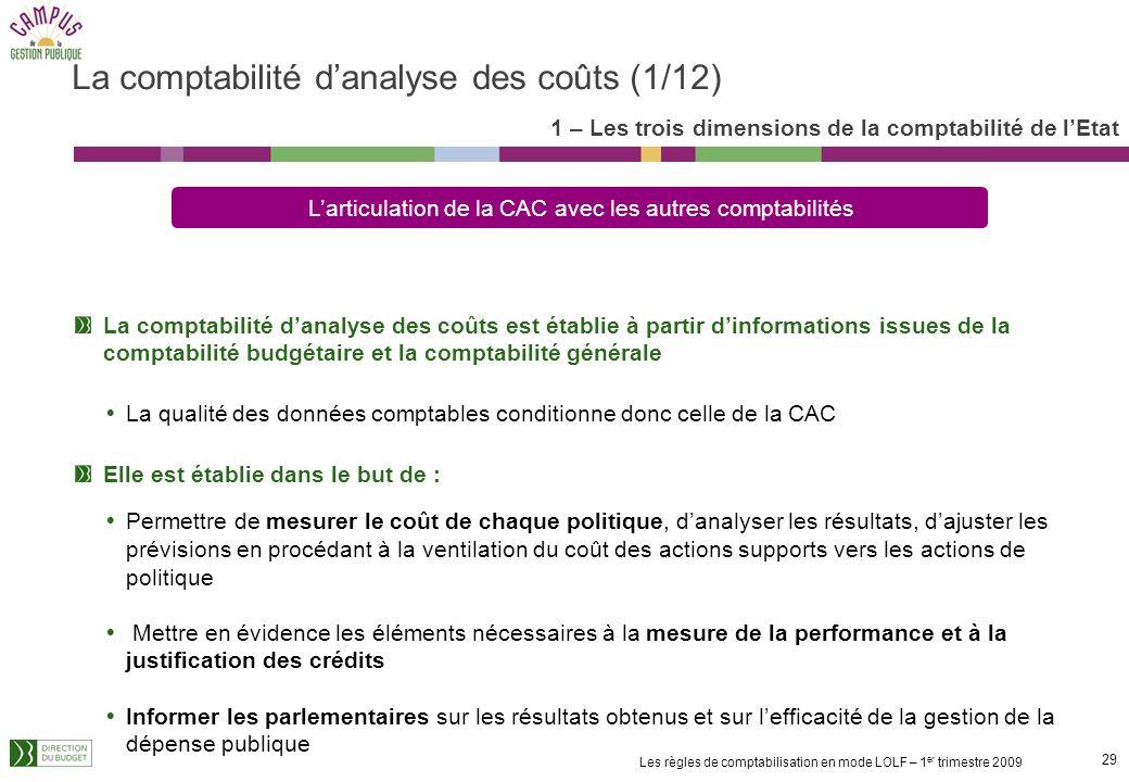 28 Les règles de comptabilisation en mode LOLF – 1 er trimestre 2009 Six critères de qualité comptable doivent être respectés : La régularité Lexactit