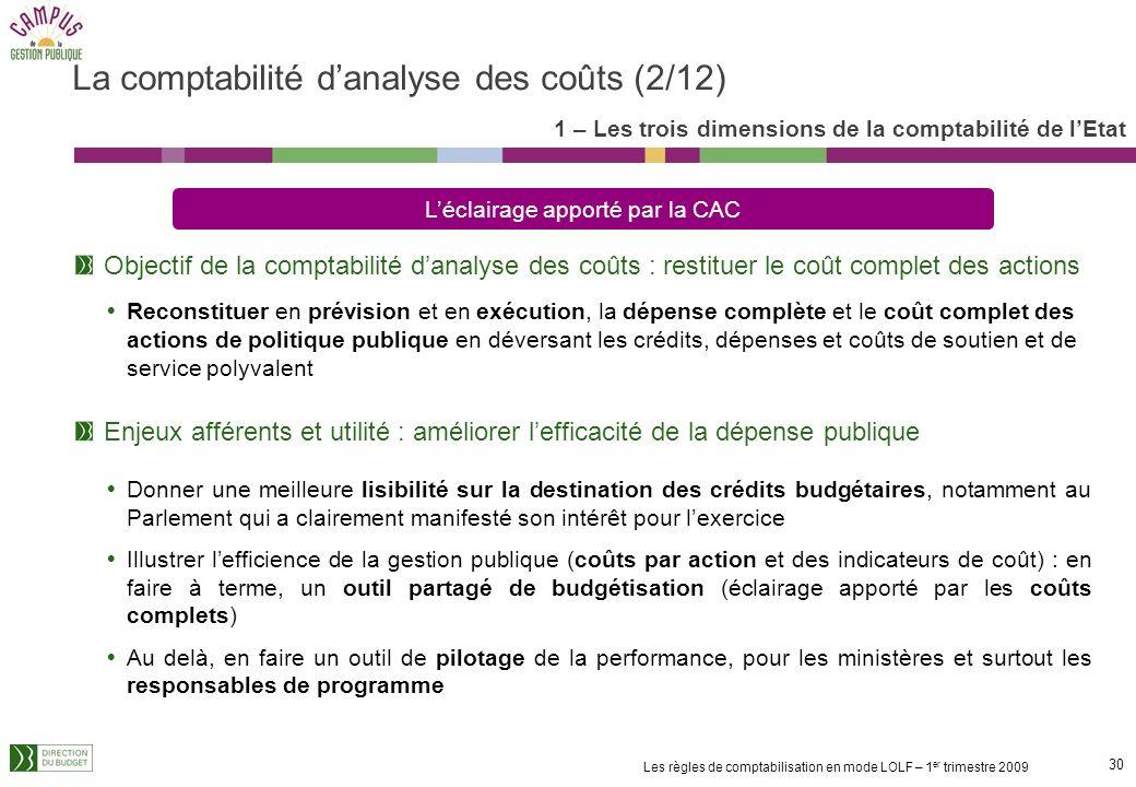 29 Les règles de comptabilisation en mode LOLF – 1 er trimestre 2009 La comptabilité danalyse des coûts est établie à partir dinformations issues de l