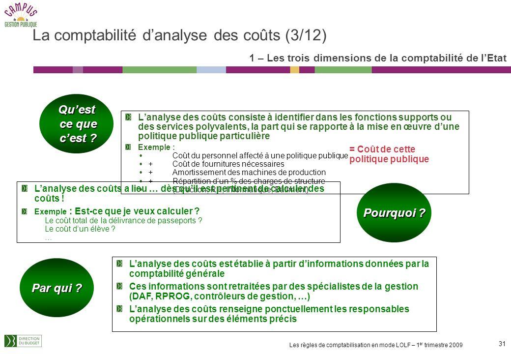 30 Les règles de comptabilisation en mode LOLF – 1 er trimestre 2009 Objectif de la comptabilité danalyse des coûts : restituer le coût complet des ac