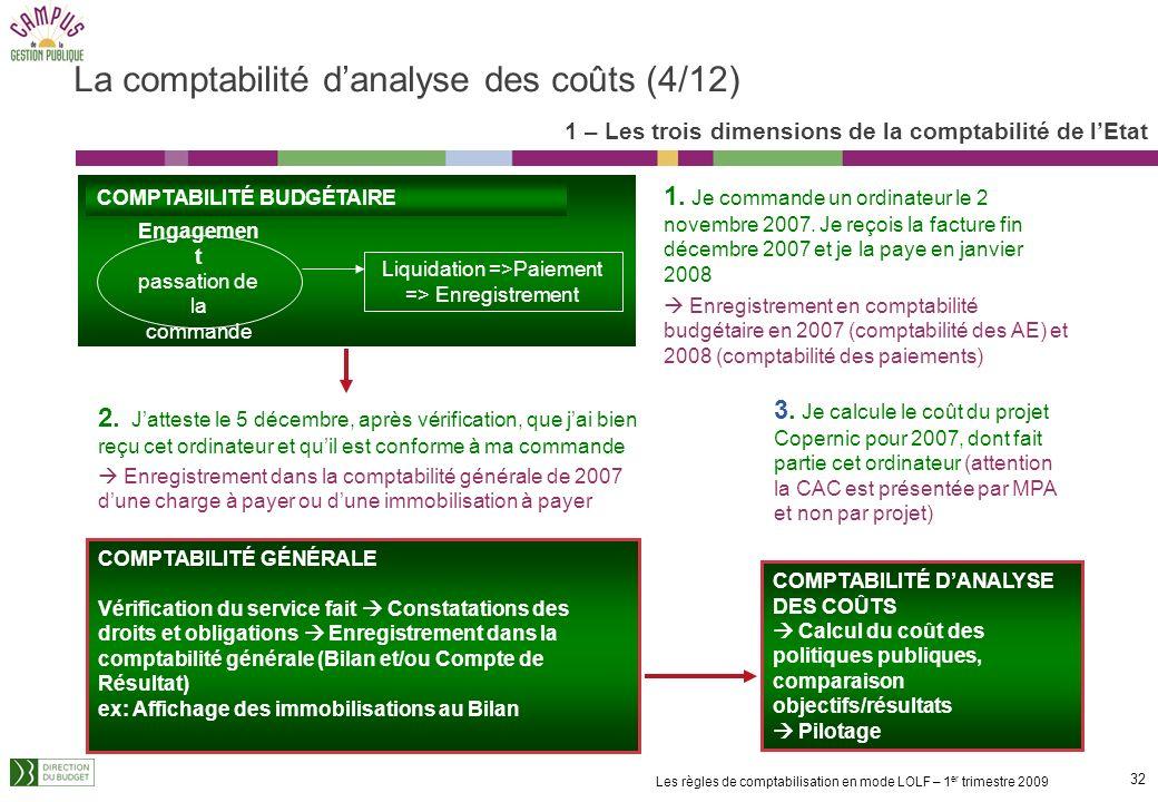 31 Les règles de comptabilisation en mode LOLF – 1 er trimestre 2009 Lanalyse des coûts consiste à identifier dans les fonctions supports ou des servi