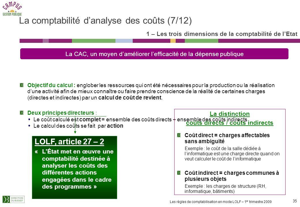 34 Les règles de comptabilisation en mode LOLF – 1 er trimestre 2009 et de fonctions support Action support : Etat-major Gestion des moyens Les liens