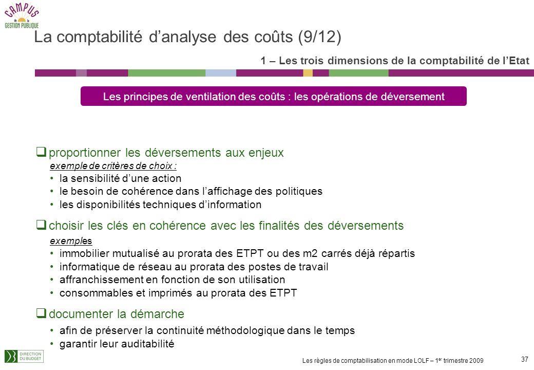36 Les règles de comptabilisation en mode LOLF – 1 er trimestre 2009 non équivalentes Lorsque charges non équivalentes aux dépenses : Clés de ventilat