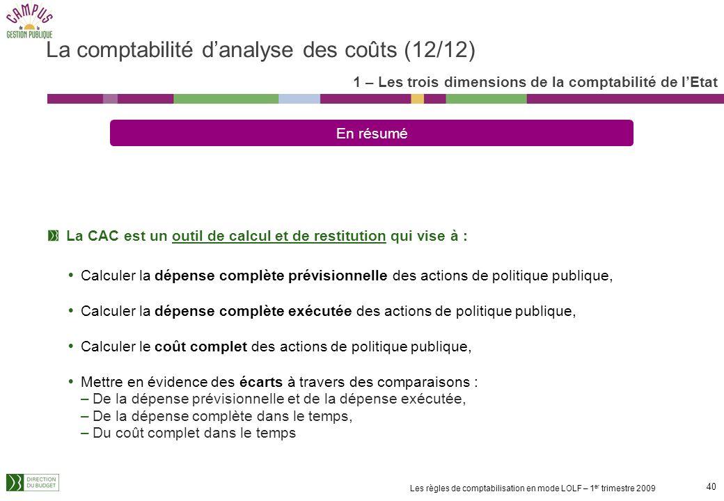 39 Les règles de comptabilisation en mode LOLF – 1 er trimestre 2009 Les ventilations internes et externes au sein du programme entre programmes de la