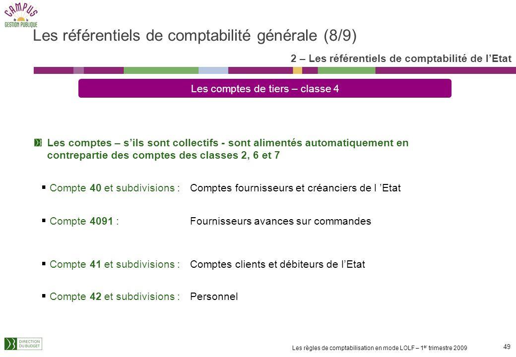 48 Les règles de comptabilisation en mode LOLF – 1 er trimestre 2009 Les comptes de tiers – classe 4 Compte 40 et subdivisions : Ventes de produits, d