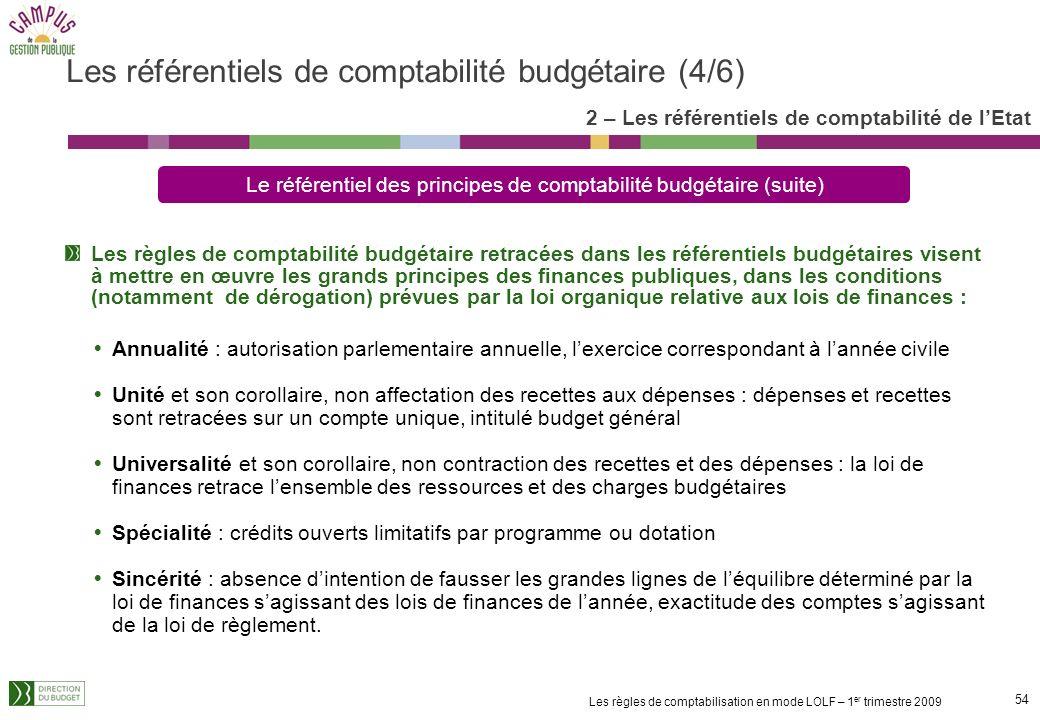 53 Les règles de comptabilisation en mode LOLF – 1 er trimestre 2009 Ces objectifs déterminent et structurent les informations à comptabiliser au titr