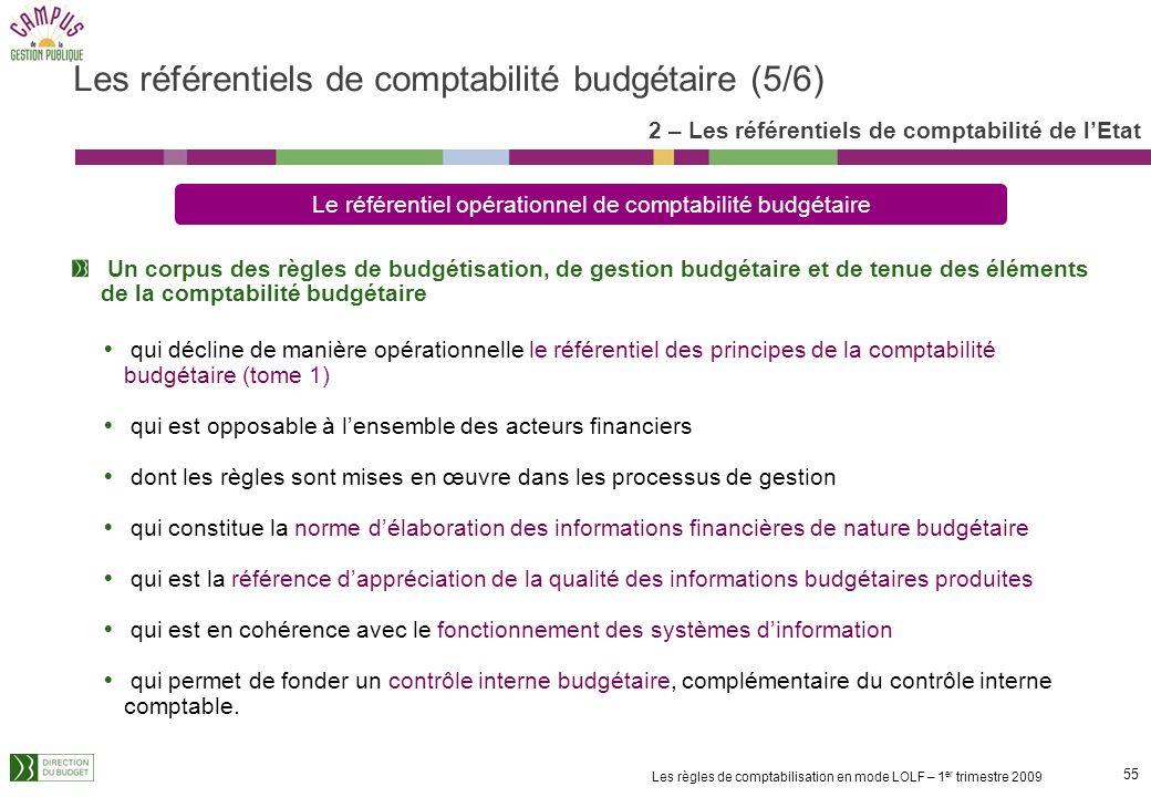 54 Les règles de comptabilisation en mode LOLF – 1 er trimestre 2009 Les règles de comptabilité budgétaire retracées dans les référentiels budgétaires