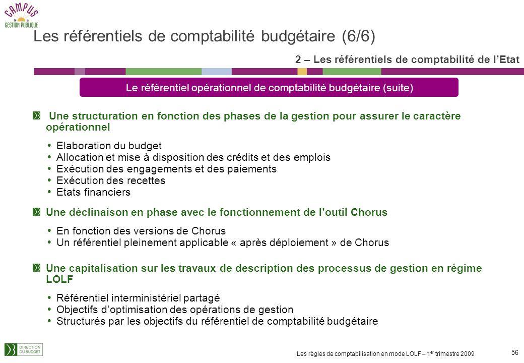 55 Les règles de comptabilisation en mode LOLF – 1 er trimestre 2009 Un corpus des règles de budgétisation, de gestion budgétaire et de tenue des élém
