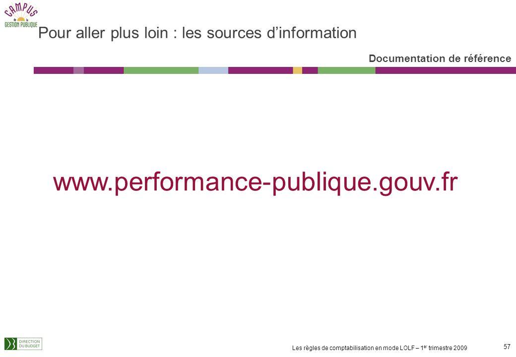 56 Les règles de comptabilisation en mode LOLF – 1 er trimestre 2009 Une structuration en fonction des phases de la gestion pour assurer le caractère
