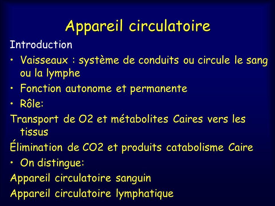 Appareil circulatoire Introduction Vaisseaux : système de conduits ou circule le sang ou la lymphe Fonction autonome et permanente Rôle: Transport de