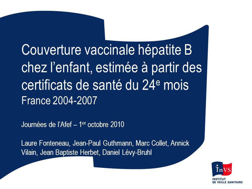 Couverture vaccinale hépatite B chez lenfant, estimée à partir des certificats de santé du 24 e mois France 2004-2007 Journées de lAfef – 1 er octobre