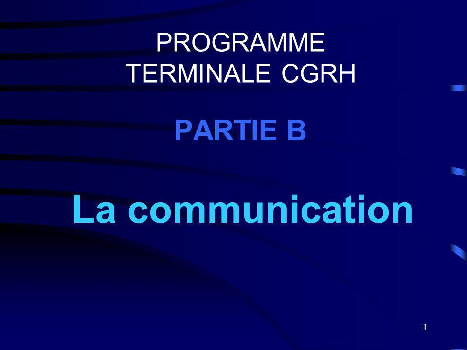1 PROGRAMME TERMINALE CGRH PARTIE B La communication