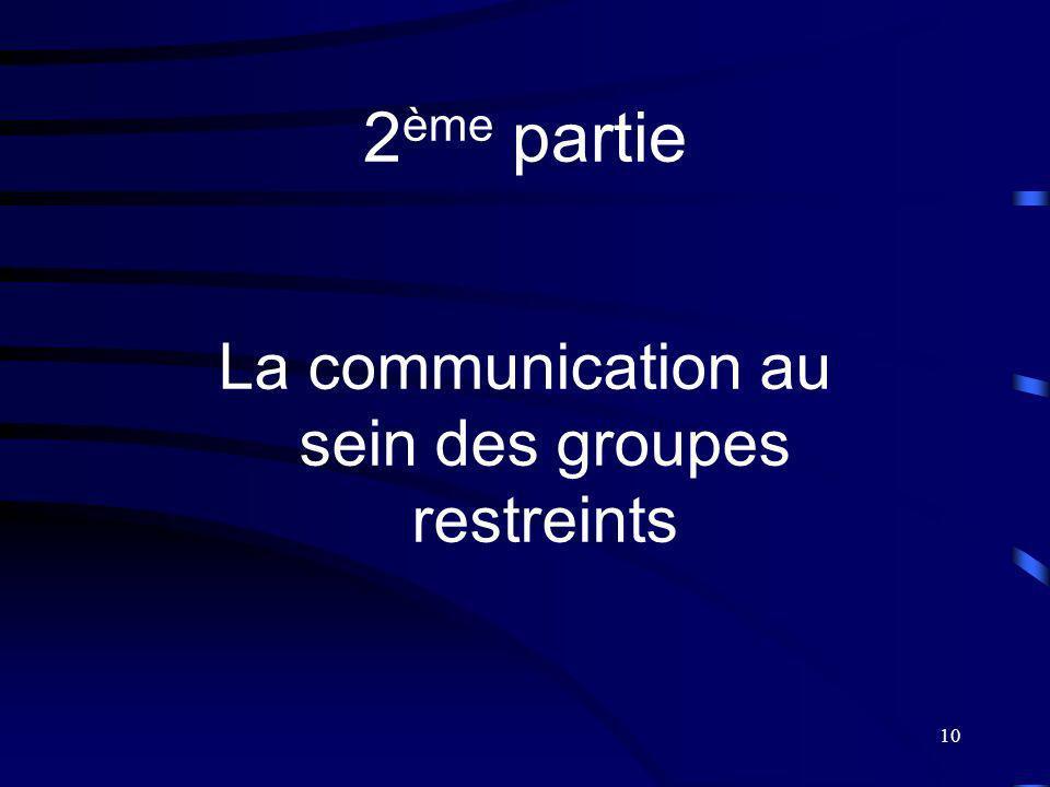 10 2 ème partie La communication au sein des groupes restreints