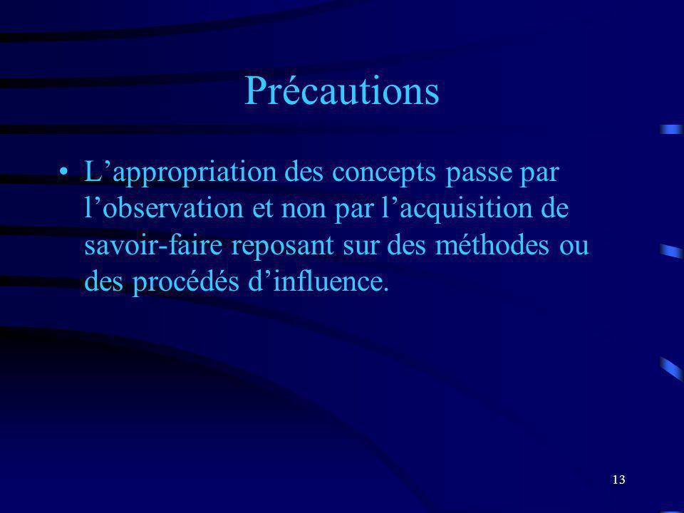 13 Précautions Lappropriation des concepts passe par lobservation et non par lacquisition de savoir-faire reposant sur des méthodes ou des procédés di