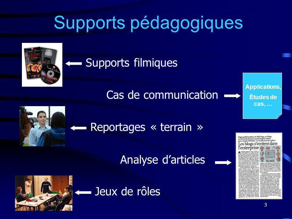 3 Supports pédagogiques Supports filmiques Cas de communication Reportages « terrain » Analyse darticles Jeux de rôles Applications, Études de cas, …