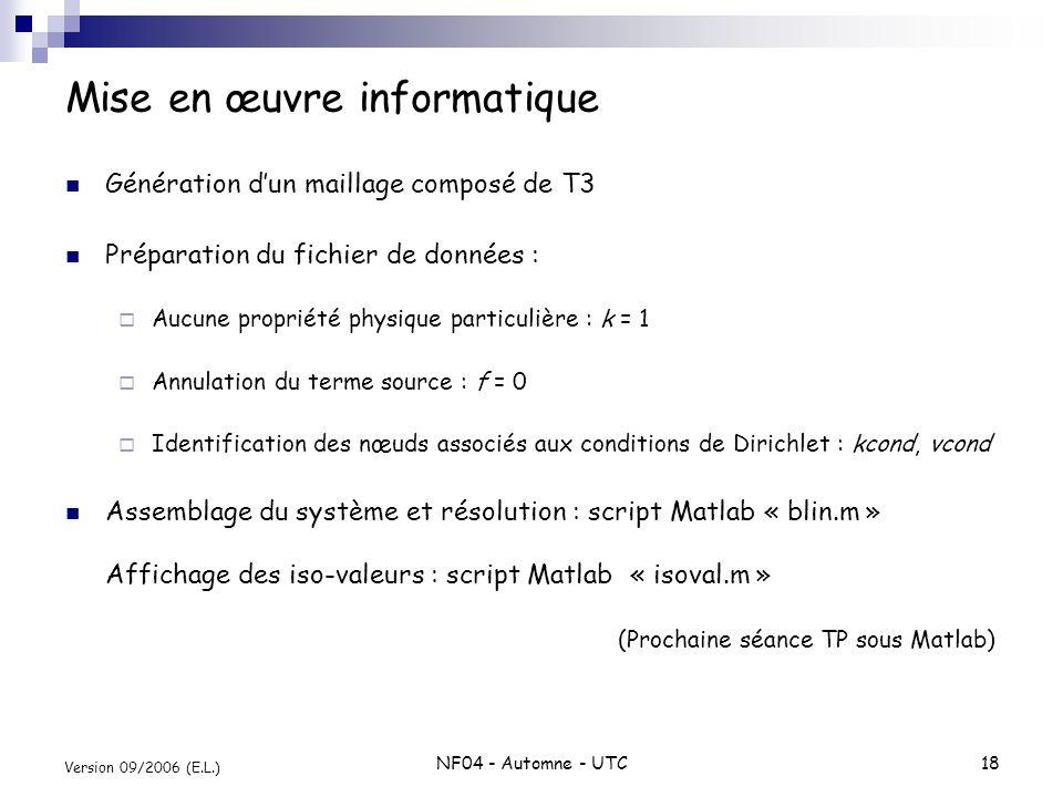 NF04 - Automne - UTC18 Version 09/2006 (E.L.) Mise en œuvre informatique Génération dun maillage composé de T3 Préparation du fichier de données : Auc
