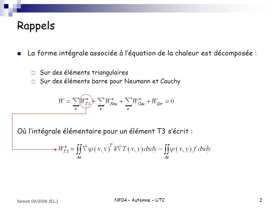 NF04 - Automne - UTC2 Version 09/2006 (E.L.) Rappels La forme intégrale associée à léquation de la chaleur est décomposée : Sur des éléments triangula