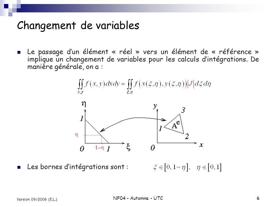 NF04 - Automne - UTC6 Version 09/2006 (E.L.) Changement de variables Le passage dun élément « réel » vers un élément de « référence » implique un chan