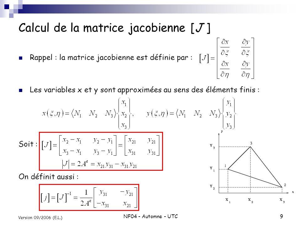 NF04 - Automne - UTC9 Version 09/2006 (E.L.) Rappel : la matrice jacobienne est définie par : Les variables x et y sont approximées au sens des élémen