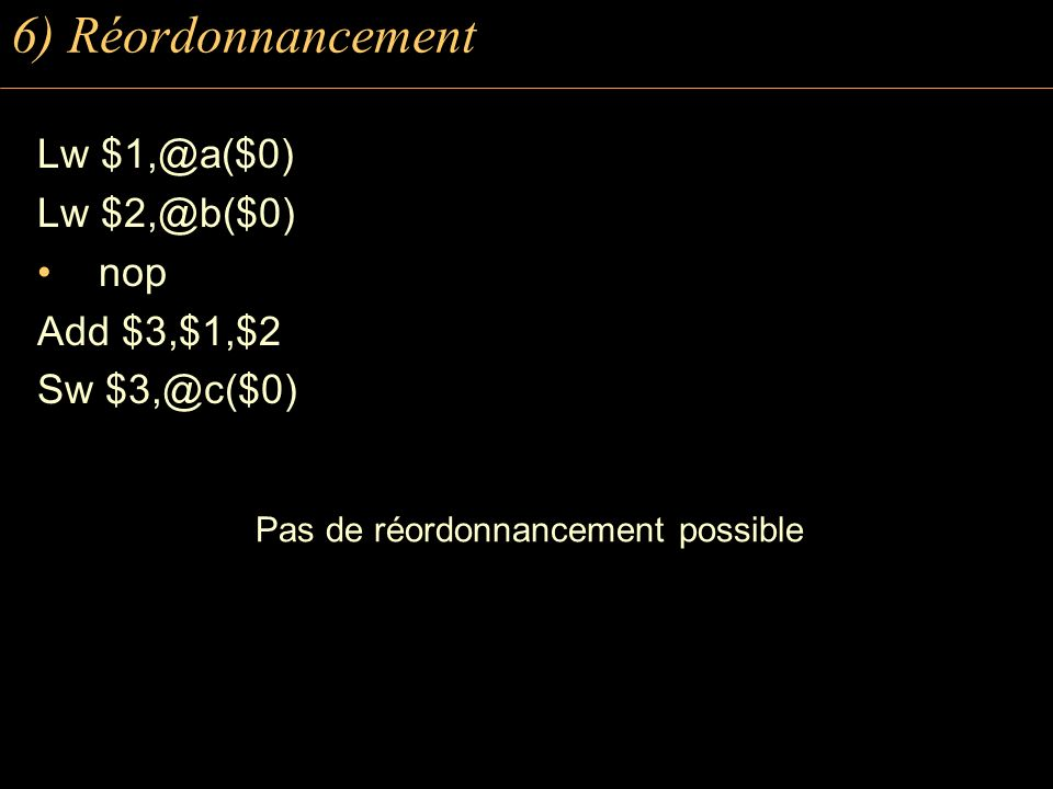 6) Réordonnancement Lw $1,@a($0) Lw $2,@b($0) nop Add $3,$1,$2 Sw $3,@c($0) Pas de réordonnancement possible