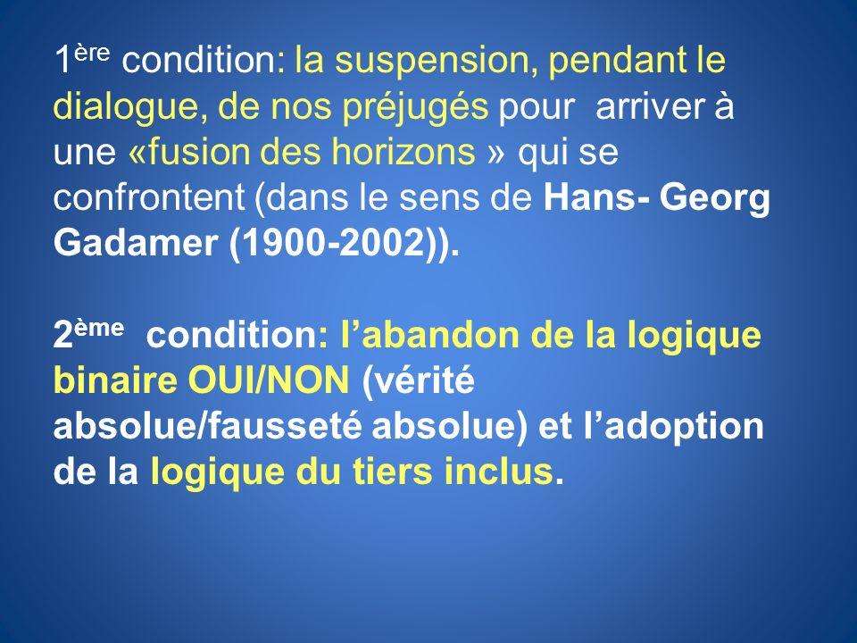 1 ère condition: la suspension, pendant le dialogue, de nos préjugés pour arriver à une «fusion des horizons » qui se confrontent (dans le sens de Han