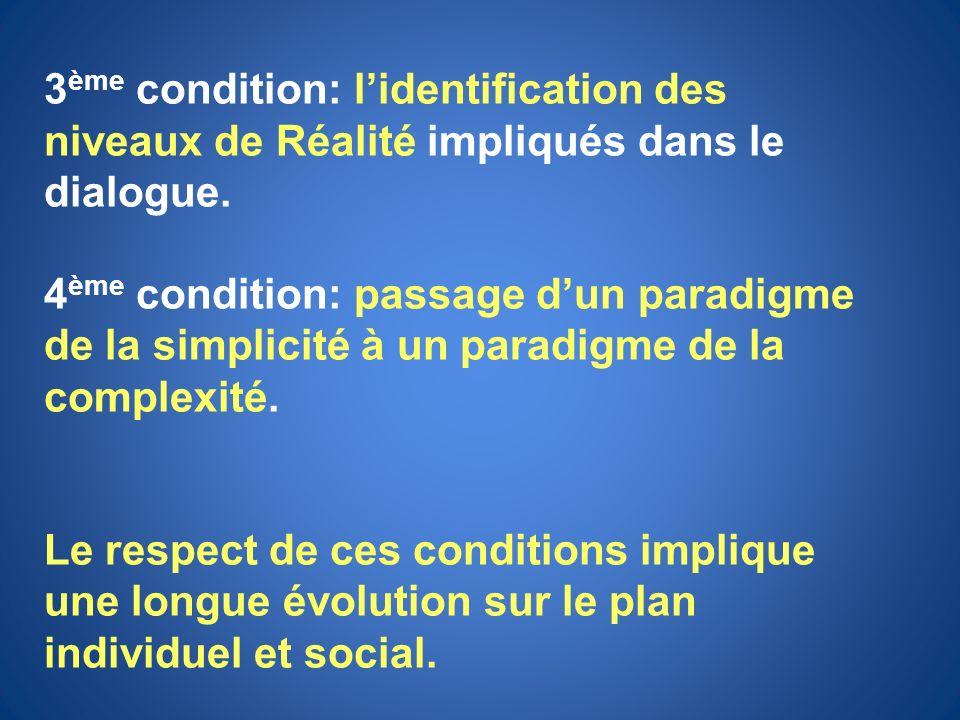 3 ème condition: lidentification des niveaux de Réalité impliqués dans le dialogue. 4 ème condition: passage dun paradigme de la simplicité à un parad