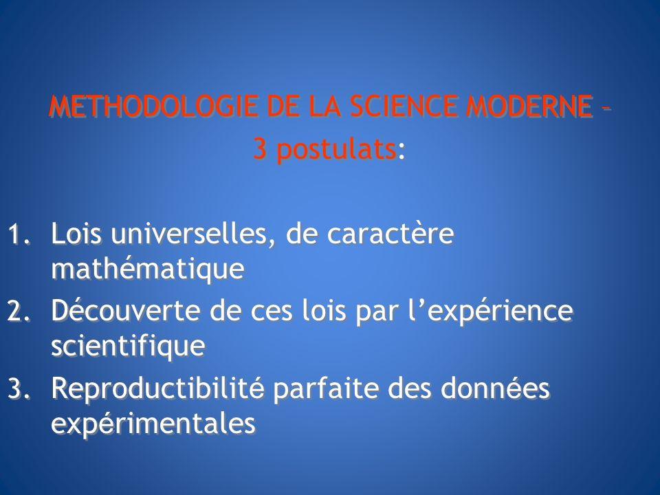 METHODOLOGIE DE LA SCIENCE MODERNE – 3 postulats: 1. Lois universelles, de caractère mathématique 2. Découverte de ces lois par lexpérience scientifiq