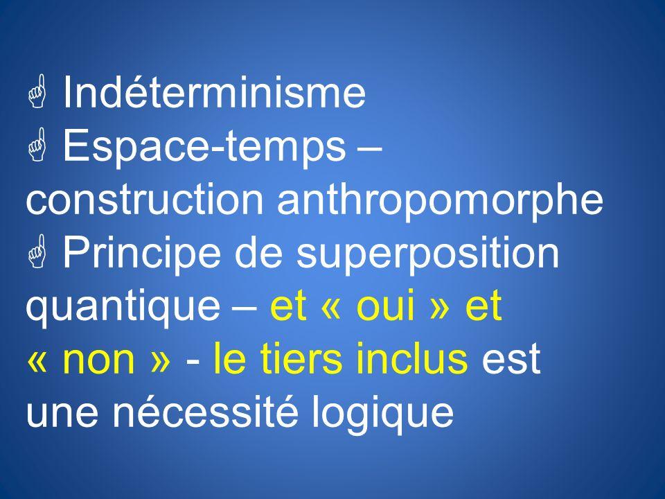 G Indéterminisme G Espace-temps – construction anthropomorphe G Principe de superposition quantique – et « oui » et « non » - le tiers inclus est une