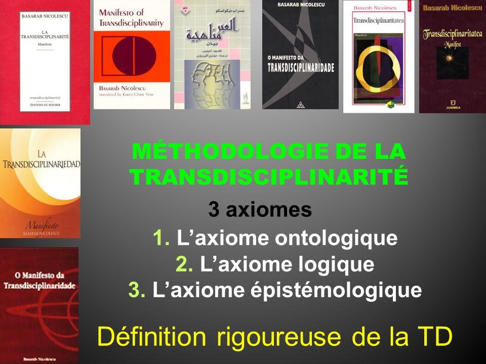 MÉTHODOLOGIE DE LA TRANSDISCIPLINARITÉ 3 axiomes 1.Laxiome ontologique 2.Laxiome logique 3.Laxiome épistémologique Définition rigoureuse de la TD