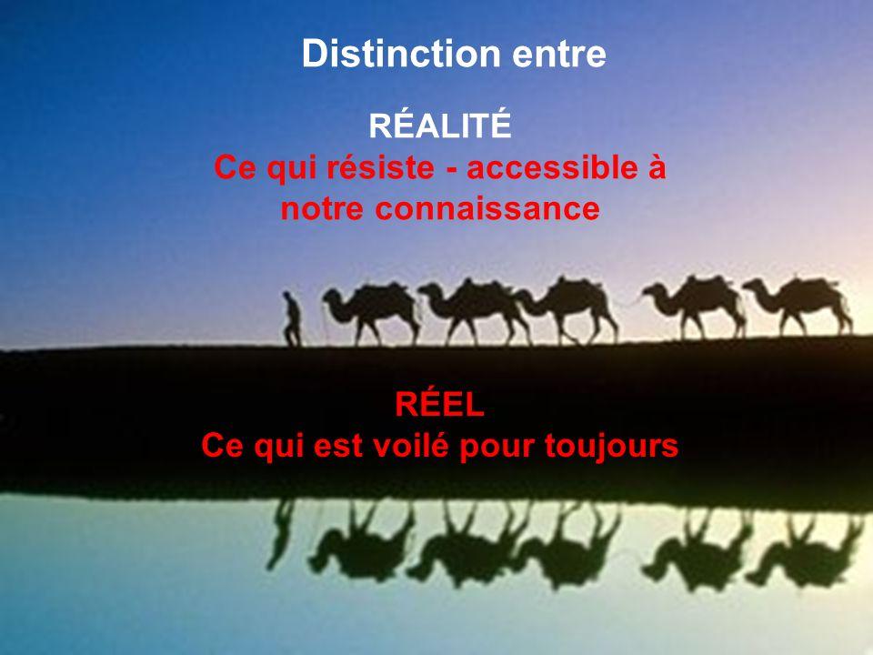 Distinction entre RÉEL Ce qui est voilé pour toujours RÉALITÉ Ce qui résiste - accessible à notre connaissance