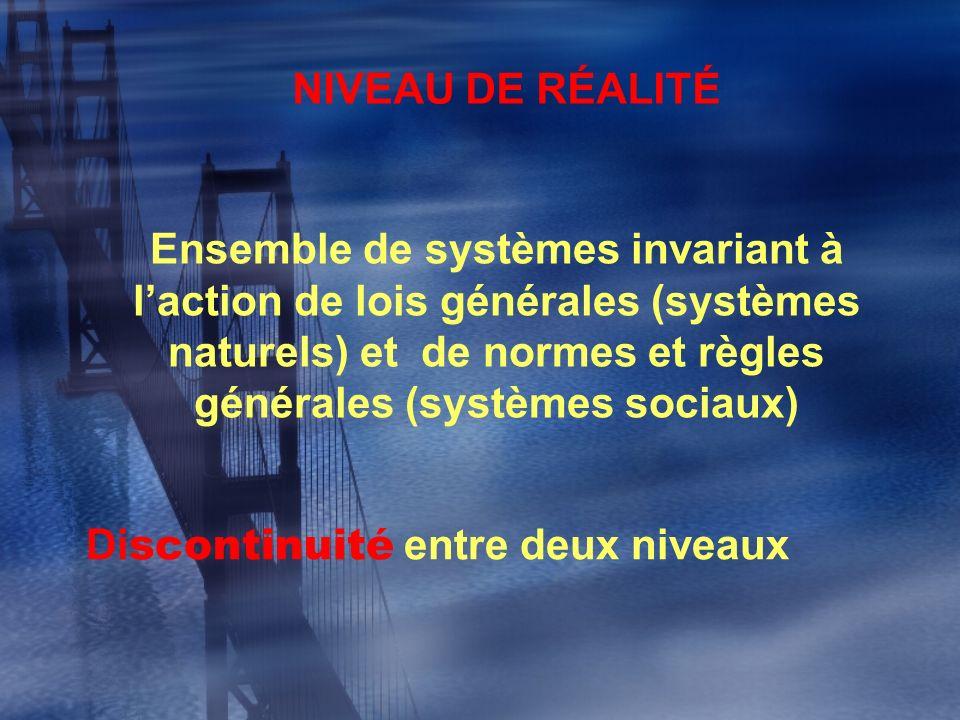 NIVEAU DE RÉALITÉ Ensemble de systèmes invariant à laction de lois générales (systèmes naturels) et de normes et règles générales (systèmes sociaux) D