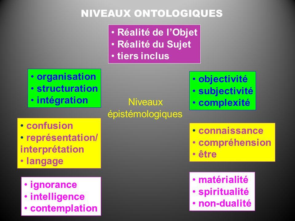 NIVEAUX ONTOLOGIQUES Réalité de lObjet Réalité du Sujet tiers inclus organisation structuration intégration confusion représentation/ interprétation l