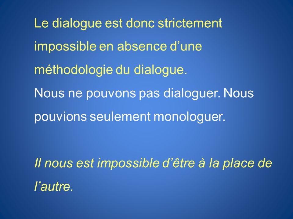 Le dialogue est donc strictement impossible en absence dune méthodologie du dialogue. Nous ne pouvons pas dialoguer. Nous pouvions seulement monologue
