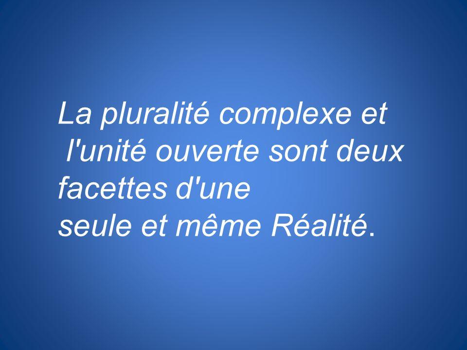 La pluralité complexe et l'unité ouverte sont deux facettes d'une seule et même Réalité.