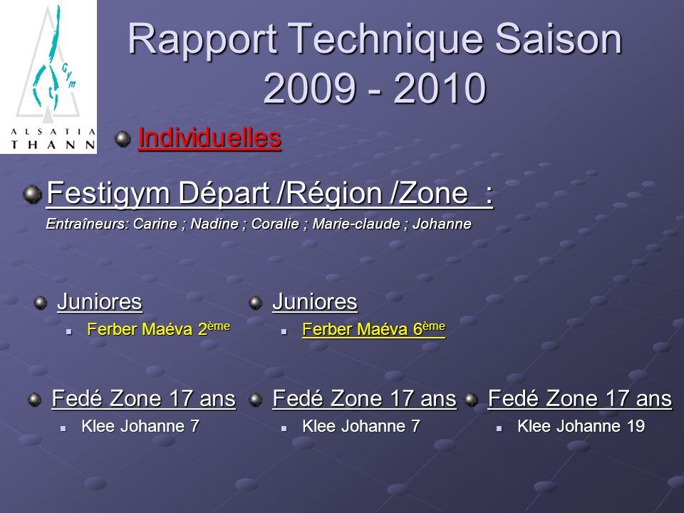 Rapport Technique Saison 2009 - 2010 Festigym Départ /Région /Zone : Entraîneurs: Carine ; Nadine ; Coralie ; Marie-claude ; Johanne Entraîneurs: Cari