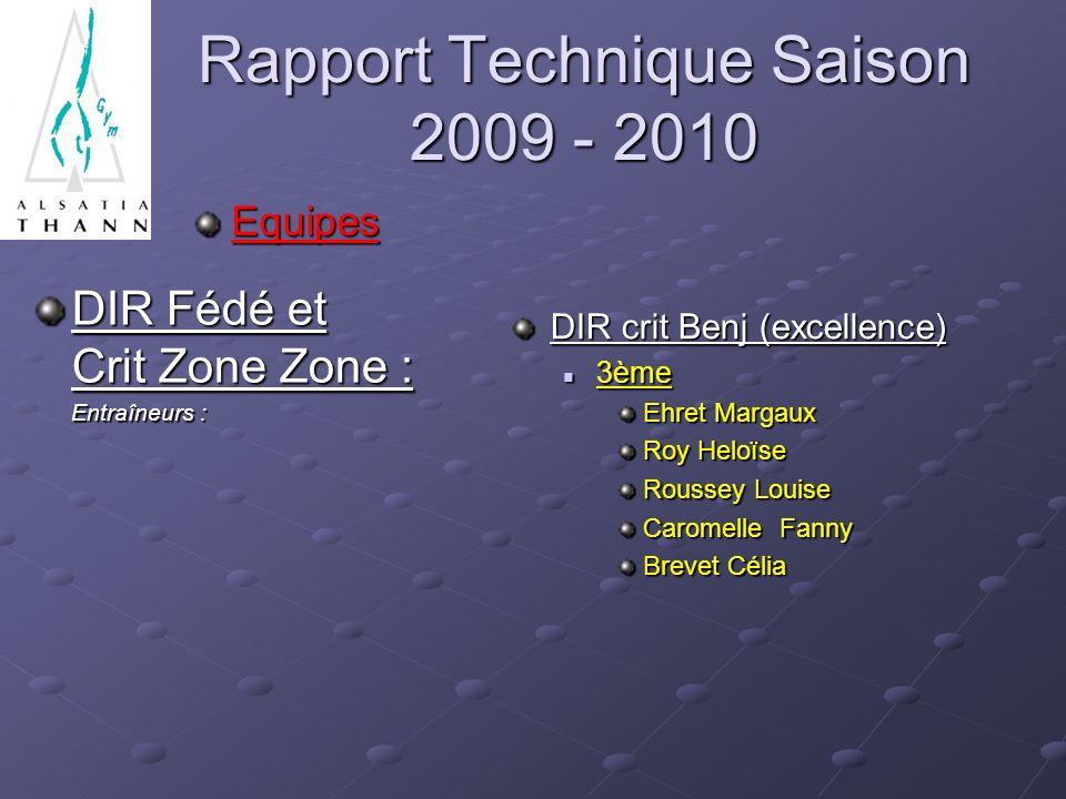 Rapport Technique Saison 2009 - 2010 Equipes DIR Fédé et Crit Zone Zone : Entraîneurs : Entraîneurs : DIR crit Benj (excellence) 3ème Ehret Margaux Ro
