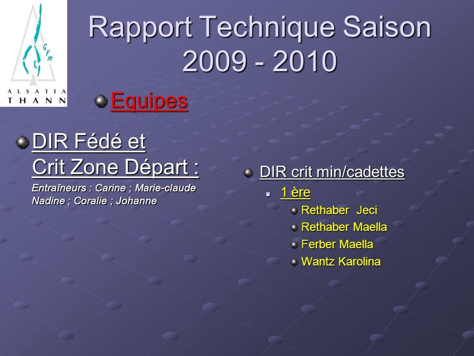 Rapport Technique Saison 2009 - 2010 Equipes DIR Fédé et Crit Zone Départ : Entraîneurs : Carine ; Marie-claude Nadine ; Coralie ; Johanne Entraîneurs