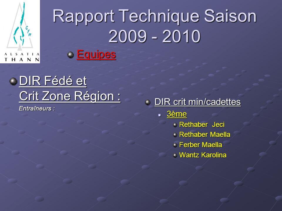 Rapport Technique Saison 2009 - 2010 Equipes DIR Fédé et Crit Zone Région : Entraîneurs : Entraîneurs : DIR crit min/cadettes 3ème Rethaber Jeci Retha