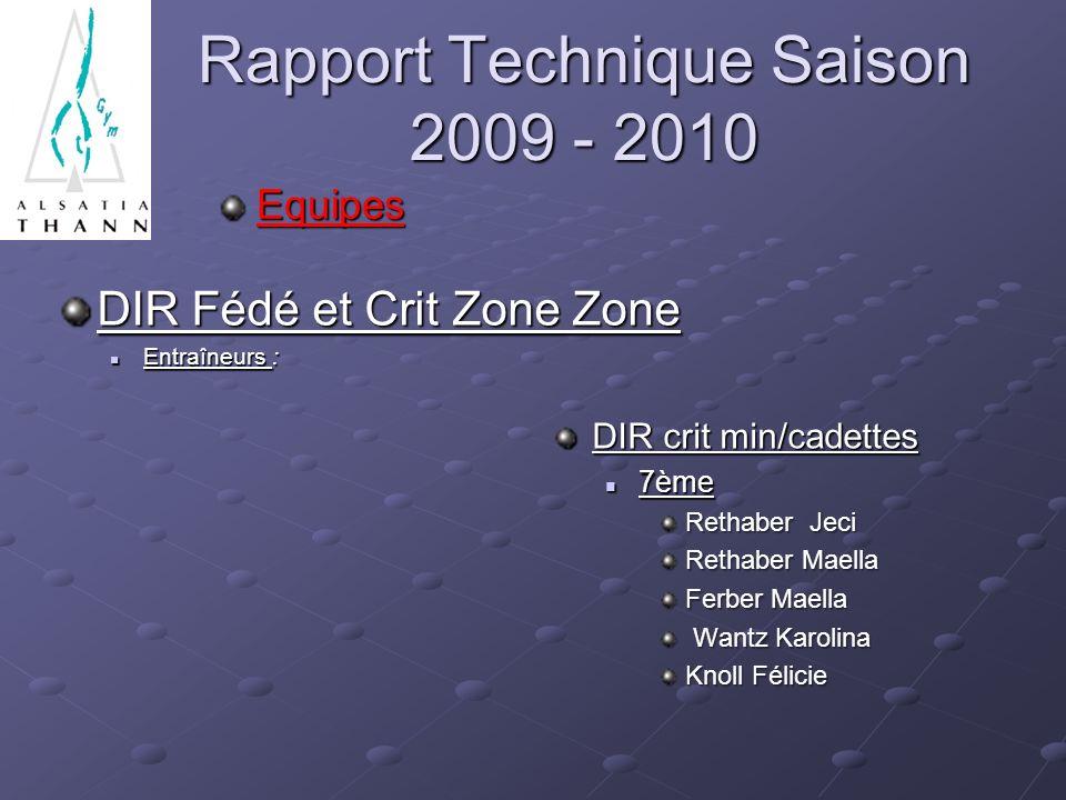 Rapport Technique Saison 2009 - 2010 Equipes DIR Fédé et Crit Zone Zone Entraîneurs : Entraîneurs : DIR crit min/cadettes 7ème Rethaber Jeci Rethaber
