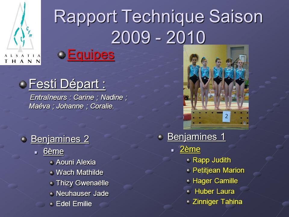 Rapport Technique Saison 2009 - 2010 Equipes Festi Départ : Entraîneurs : Carine ; Nadine ; Maéva ; Johanne ; Coralie. Entraîneurs : Carine ; Nadine ;