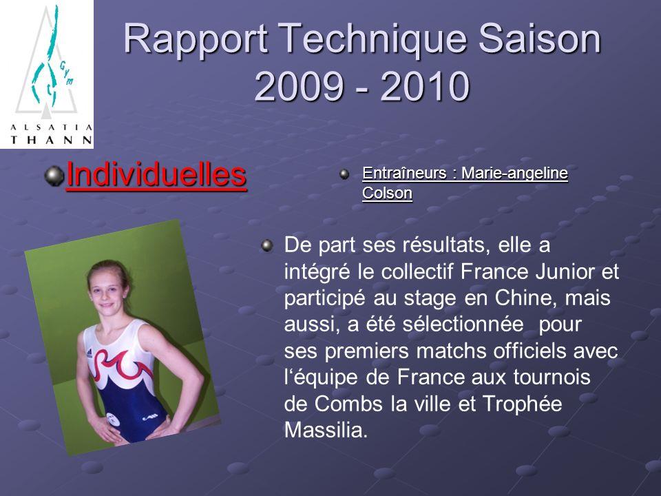 Rapport Technique Saison 2009 - 2010 Individuelles Entraîneurs : Marie-angeline Colson De part ses résultats, elle a intégré le collectif France Junior et participé au stage en Chine, mais aussi, a été sélectionnée pour ses premiers matchs officiels avec léquipe de France aux tournois de Combs la ville et Trophée Massilia.