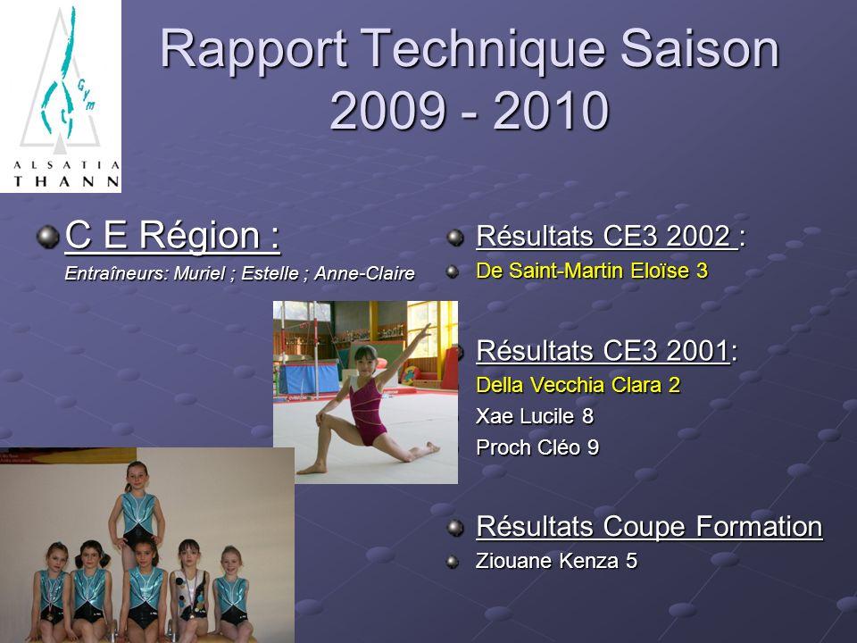 Rapport Technique Saison 2009 - 2010 C E Région : Entraîneurs: Muriel ; Estelle ; Anne-Claire Entraîneurs: Muriel ; Estelle ; Anne-Claire Résultats CE