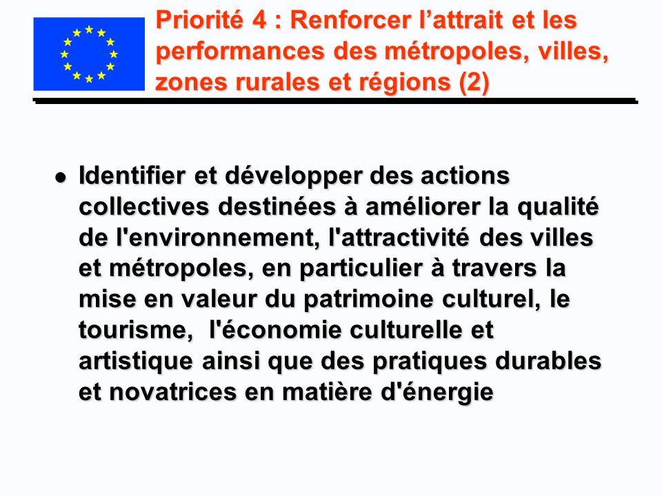 Priorité 4 : Renforcer lattrait et les performances des métropoles, villes, zones rurales et régions (2) l Identifier et développer des actions collec