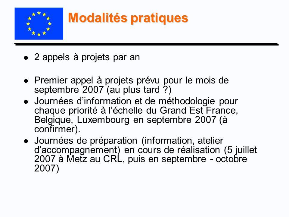 Modalités pratiques l l 2 appels à projets par an l l Premier appel à projets prévu pour le mois de septembre 2007 (au plus tard ?) l l Journées dinfo