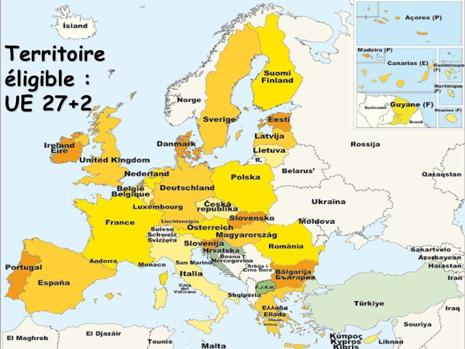 Territoire éligible : UE 27+2