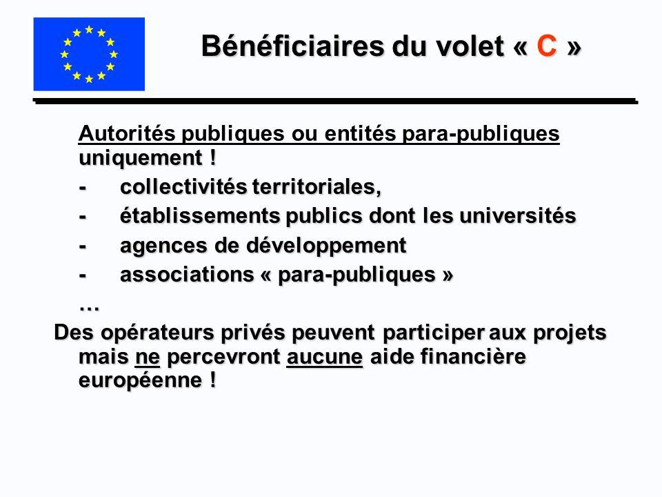 Bénéficiaires du volet « C » uniquement ! Autorités publiques ou entités para-publiques uniquement ! -collectivités territoriales, -établissements pub